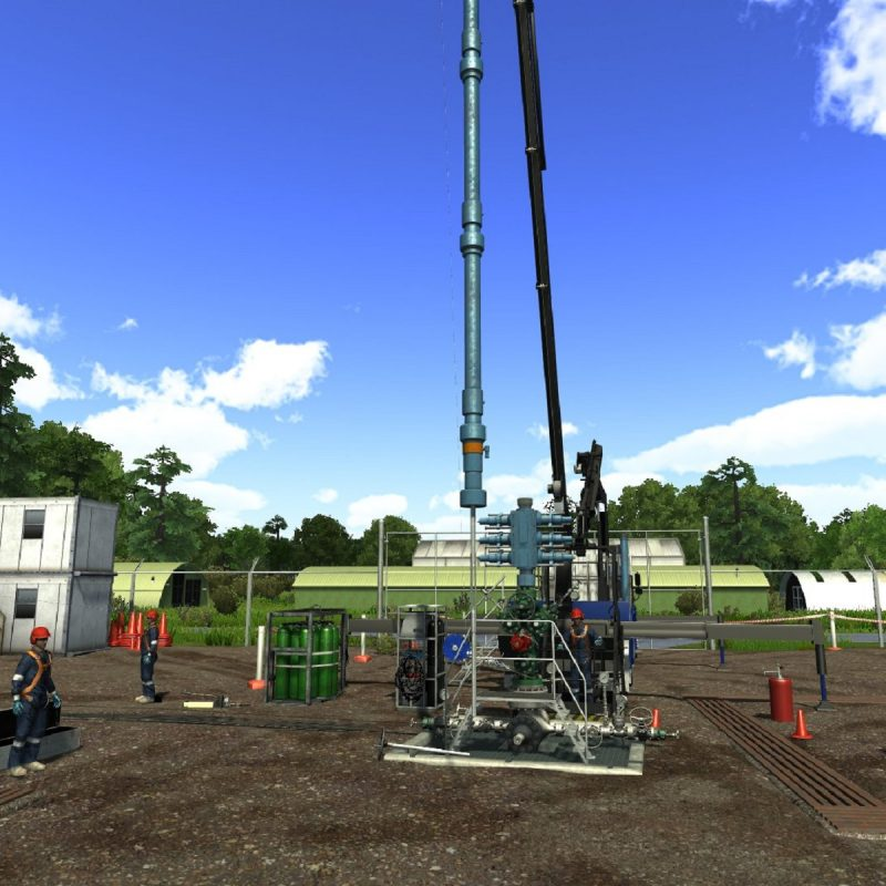 A graphical image of a land rig during wireline operations on the WirelineSIM:5000 well intervention simulator